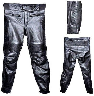 Mens Motorcycle Leather Pant Trouser Touring Biker Padding CE Armour Protection