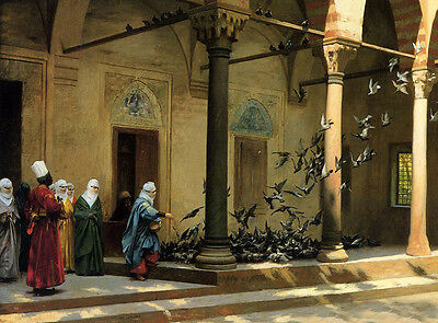 Oil painting Jean-Leon Gerom - Harem Women Feeding Pigeons in a Courtyard canvas
