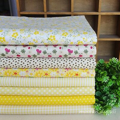 """Yellow Series 8 Assorted Pre Cut Charm Cotton Quilt Fabric 17.7"""" Fat Quarters"""