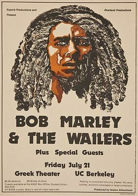 Bob Marley and The Wailers Greek Theatre UC Berkeley Repro  POSTER