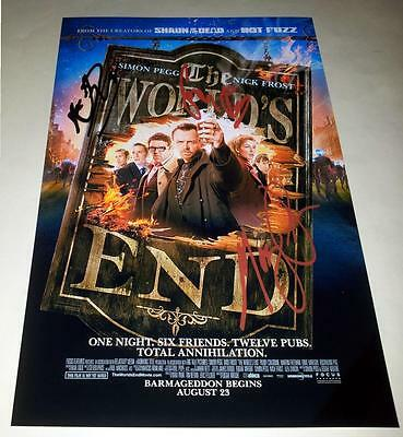"""The World's End Cast X3 Pp Signed Poster 12""""x8"""" Simon Pegg Nick Frost Worlds"""