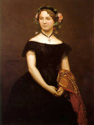 """Oil painting Jean-Leon Gerom - Portrait of Miss Durand with flowers on head 36"""""""