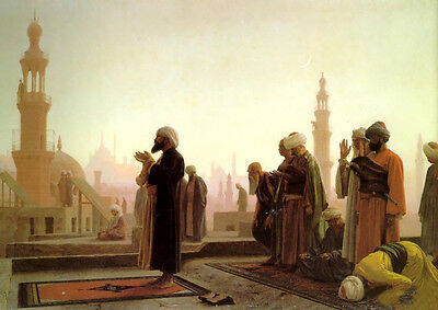 """Oil painting Jean-Leon Gerom - Male portraits Prayer in Cairo sunset view 36"""""""