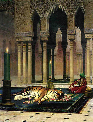 """Oil painting Jean-Leon Gerom - The Pasha's Sorrow (also known as Dead Tiger) 36"""""""
