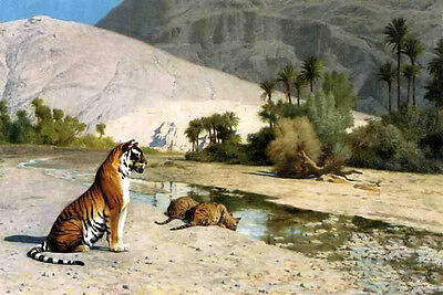 """Oil painting Jean-Leon Gerom - Thirst (also known as Tigress and Her Cubs) 36"""""""