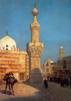 """Art Oil painting Jean-Leon Gerom - View of Cairo with animal Camel canvas 36"""""""