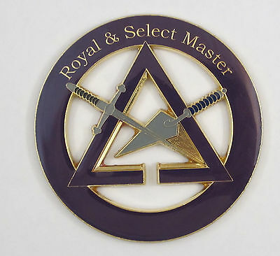 Auto Emblem Royal & Select Master 2 Mason Metal Enamel Masonic Freemason