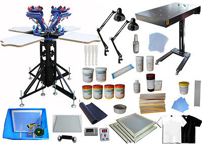 4 Color 4 Station Screen Printing Press Flash Dryer & Full Supplies Starter Kit