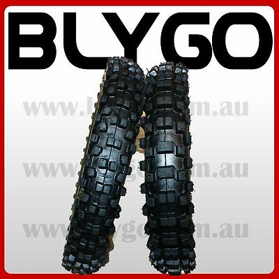 "GL 60/100- 14"" Front 80/100- 12"" Inch Rear Knobby Tyre Tire + Tube PIT Dirt Bike"