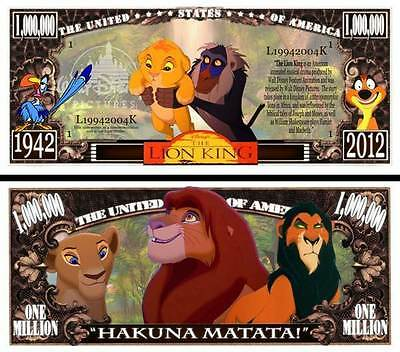 LE ROI LION BILLET 1 MILLION DOLLAR US! Collection dessin animé Walt Disney King