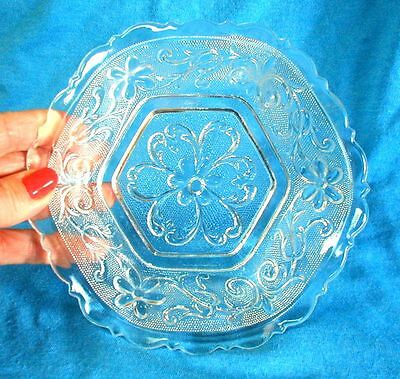 Vintage Clear Glass Candy Dish Art Nouveau Floral Fluted Scalloped 6-1/2 inch