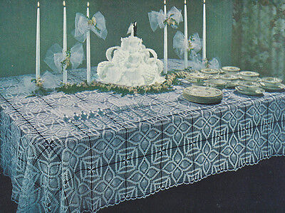 Vintage Crochet PATTERN to make Pineapple Motif Block Tablecloth PineappleCloth