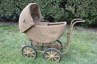 Antique RARE Wicker Baby  Carriage great shape