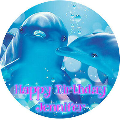 DOLPHINS Round Edible Birthday CAKE Image Icing Topper Party Decoration Ocean