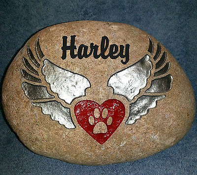 """PET MEMORIAL SILVER WINGED 8"""" (approx).STONE w/ HEART/PAW PERSONALIZED with NAME"""