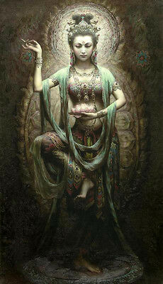 """Nice Oil painting Chinese Dunhuang Flying Fairy  beauty with flower canvas 36"""""""