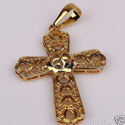 18K Yellow Gold Filled filigree cross pendant GF jewelry Men or Womens 66mmx36mm