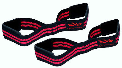 EVO Fitness Fig 8 Gym Straps weightlifting with GEL Padded wrist Support cuff