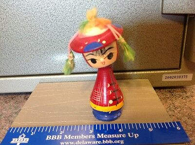 Vintage Wooden bobble head  Asian figurine Doll So Cute Old- Never before seen