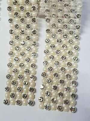 Diamante & Ivory pearl  ribbon banding trim for wedding cake decoration