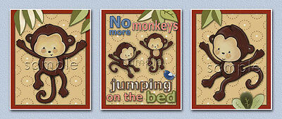 Monkey Prints, Monkeys jumping on bed/crib, set/nursery art/kids/baby Jungle 123