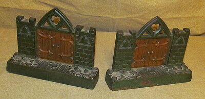 Pair Antique Cast Iron Bookends Garden Gate Form