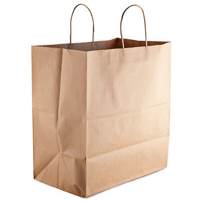 50 count Paper Retail / Shopping Bag 14x10x16 Kraft with Rope Handle ROYAL