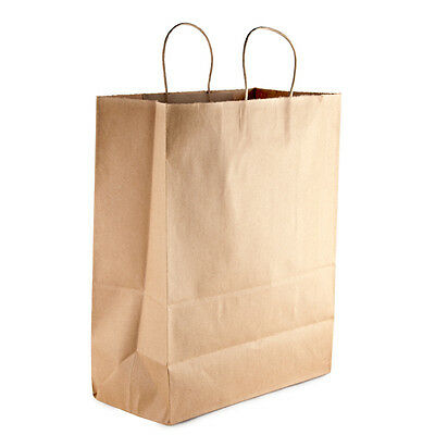 50 Paper Retail / Shopping Bag 13x7x17 KRAFT with Rope Handle MART