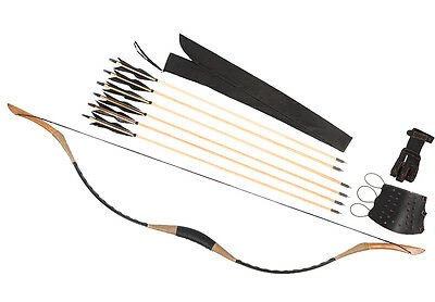 Black 6 Wooden Arrows Cow Leather Hunting Recurve Longbow HorseBow 15-80LBS