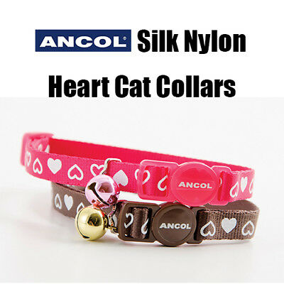 NEW Ancol Silk Nylon Heart Cat Collar Safety Buckle Chocolate Brown Pink