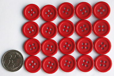 20 x 15 mm MATCHING RIDGED BUTTONS - RED SHADES Scrapbooking & Sewing