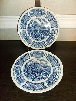 2 Alfred Meakin Blue Fair Winds 7 Inch Bread Plates Sailing Ships