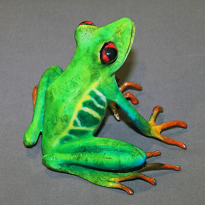 """""""Darcy""""  Bronze Frog Statue Figurine Amphibian Art Signed Certificate Of Authent"""