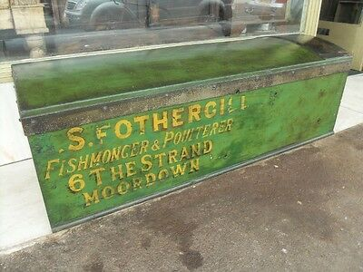 "Vintage Painted Fishmongers Chest / Trunk "" S Forthergill Moordown Bournemouth """