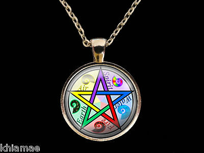"""Pentacle Necklace 18"""" silver plated chain pendant pentagram wicca pagan jewelry"""