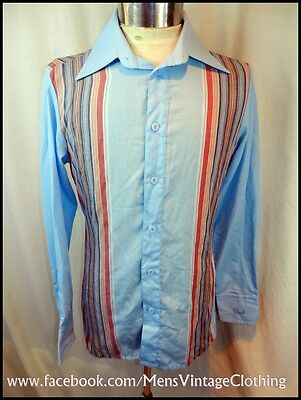 Vintage 80's Blue Striped Poly/Cotton Blend Roland Kosser Shirt Size 14.5 Small