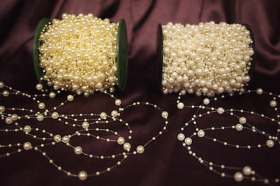 3mm and 8 mm Pearl Beads String (Ivory/White)