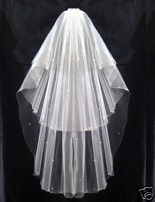 2 Tier Ivory Bridal Wedding Veil With Pearls Comb New