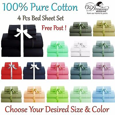 NEW 100% PURE COTTON 325TC QUEEN or KING SIZE 4 PCS BED SHEET SET - FREE POST !