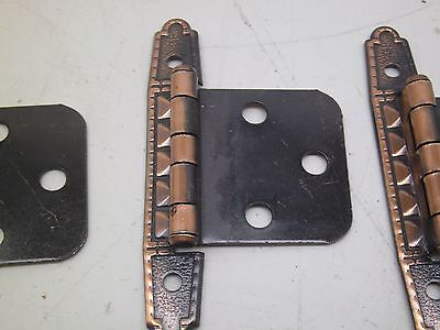 NOS VINTAGE LOT OF 10 PAIR  CABINET HINGES NICE COPPER  finish   flush mount  g