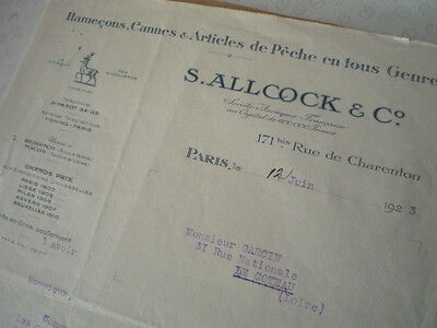 A Vintage Allcock Letter In French From 1923, Fishing