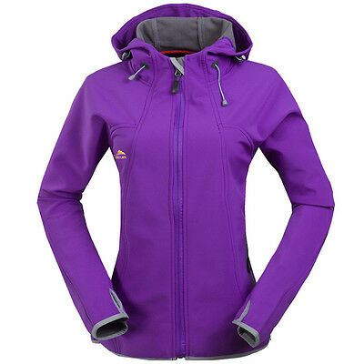 Womens Softshell Windproof Jacket Outdoor Travel Coat Winter Hoodie Outerwear