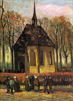 Oil painting Vincent Van Gogh - Sunset landscape with church people canvas