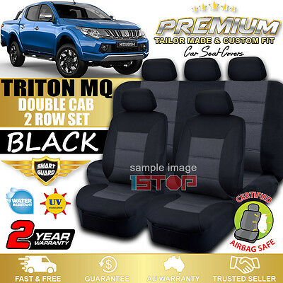 Mitsubishi Triton Mq Double Cab 01/2015-2018 Black Custom Seat Covers Dual Cab