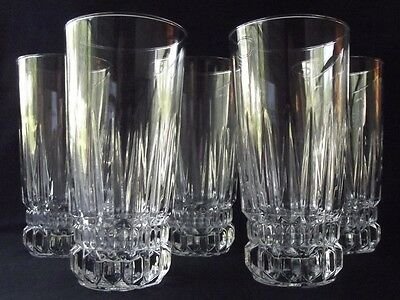 "SET OF 5 D'ARQUES /DURAND ""BARCELONA"" CRYSTAL 14oz FLAT ICED TEA TUMBLERS 6-3/8"""