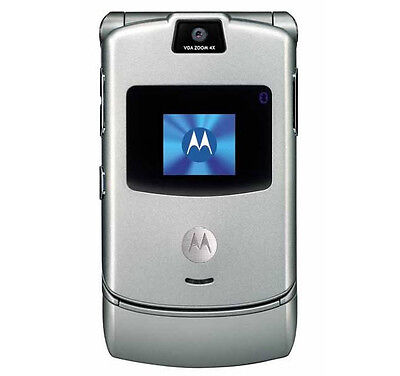 SILVER MOTOROLA RAZR V3 CELL PHONE FOR ATT AT&T