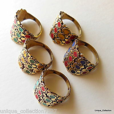 Nepalese Handmade Ethnic Turquoise Coral Brass Finger Ring - Size 8, 9, 10