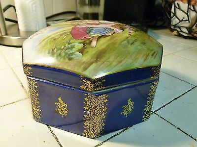 Large Vintage German Saxe Porcelain Trinket Box With Romatic Scene W Angel