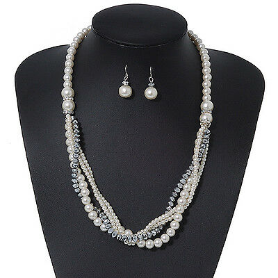 Multistrand White Glass Pearls & Grey Crystal Beads Long Necklace & Drop