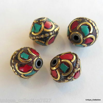 BD-114 Nepalese Tibetan Ethnic Tribal Natural Turquoise Coral Jewelery Beads